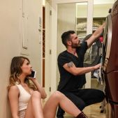 Horny American female Jillian Janson seduces the washing machine repairman