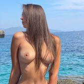 20yo Hot Babe with Big Natural Tits on Nudist Beach - Yoya Grey