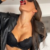 Sexy Teen Brunette in Black Lingerie and Leather Jacket - Yoya Grey